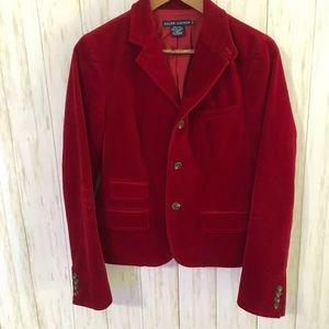 Ralph Lauren Red Corduroy Blazer 8